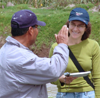 Dr. Eakin interviewing a farmer about flood risk in San Bartolo, Mexico