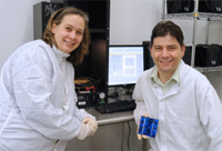 Honsberg and Bowden in the the Solar Power Lab's clean room