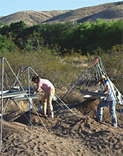 Soil from a 12th century pueblo in southwest New Mexico is carefully sifted to recover artifacts