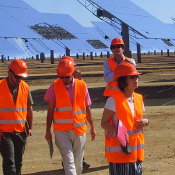Sustainability students in Spanish solar field