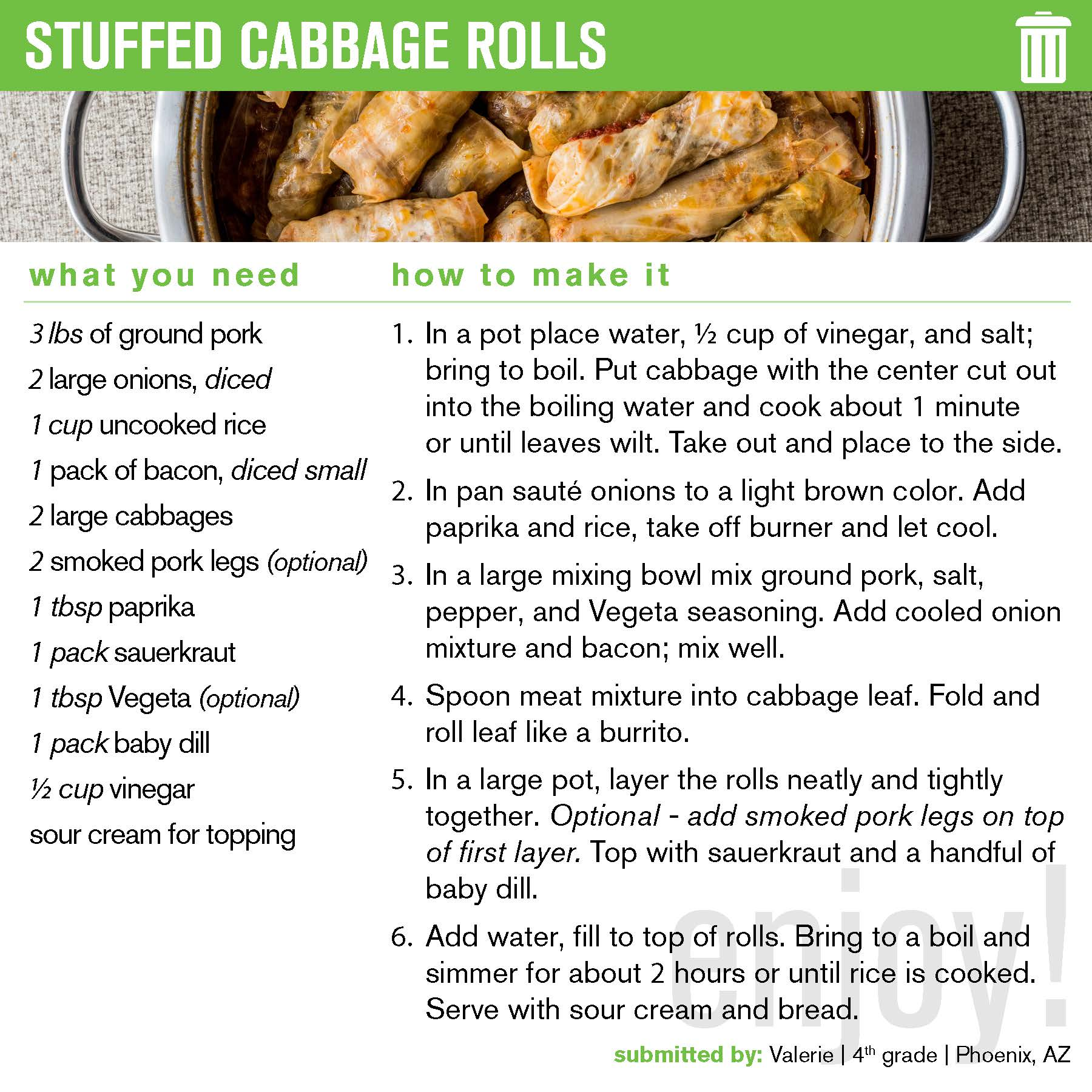 Clickable preview of pdf recipe; Cabbage Rolls