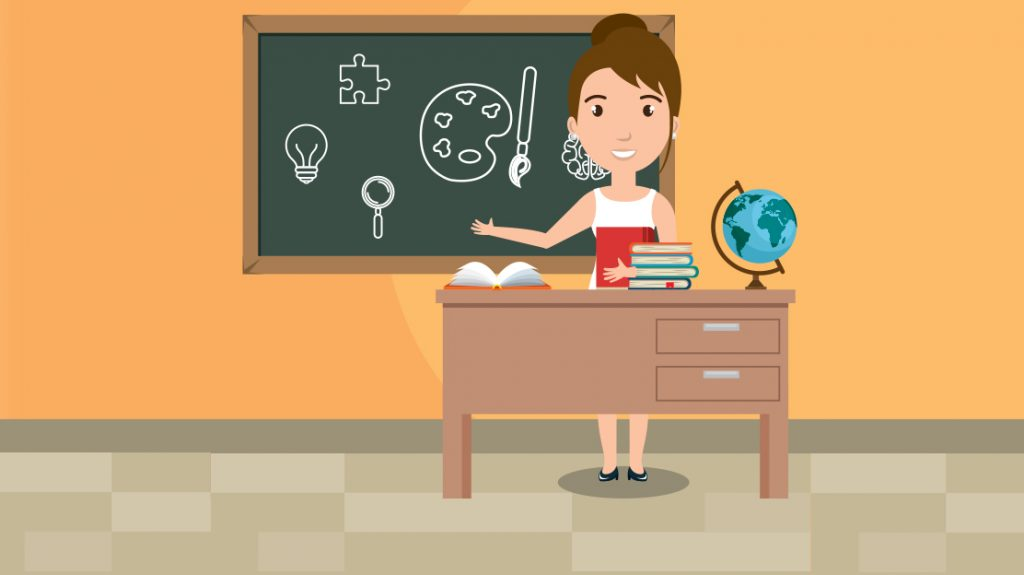 Rendering of a teacher at the front of a classroom