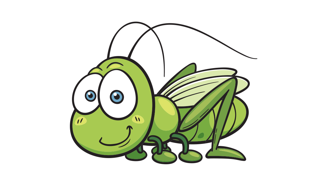 image of a cute artoon locust