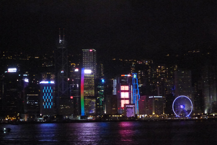 The Hong Kong skyline lit up at night during the daily Symphony of Lights.
