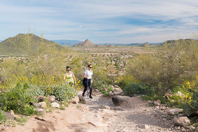 People hiking through Thunderbird Park