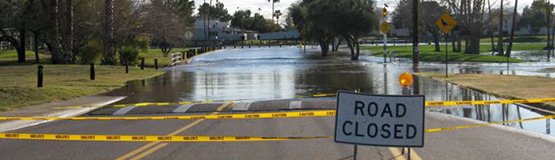 A deeply flooded Street
