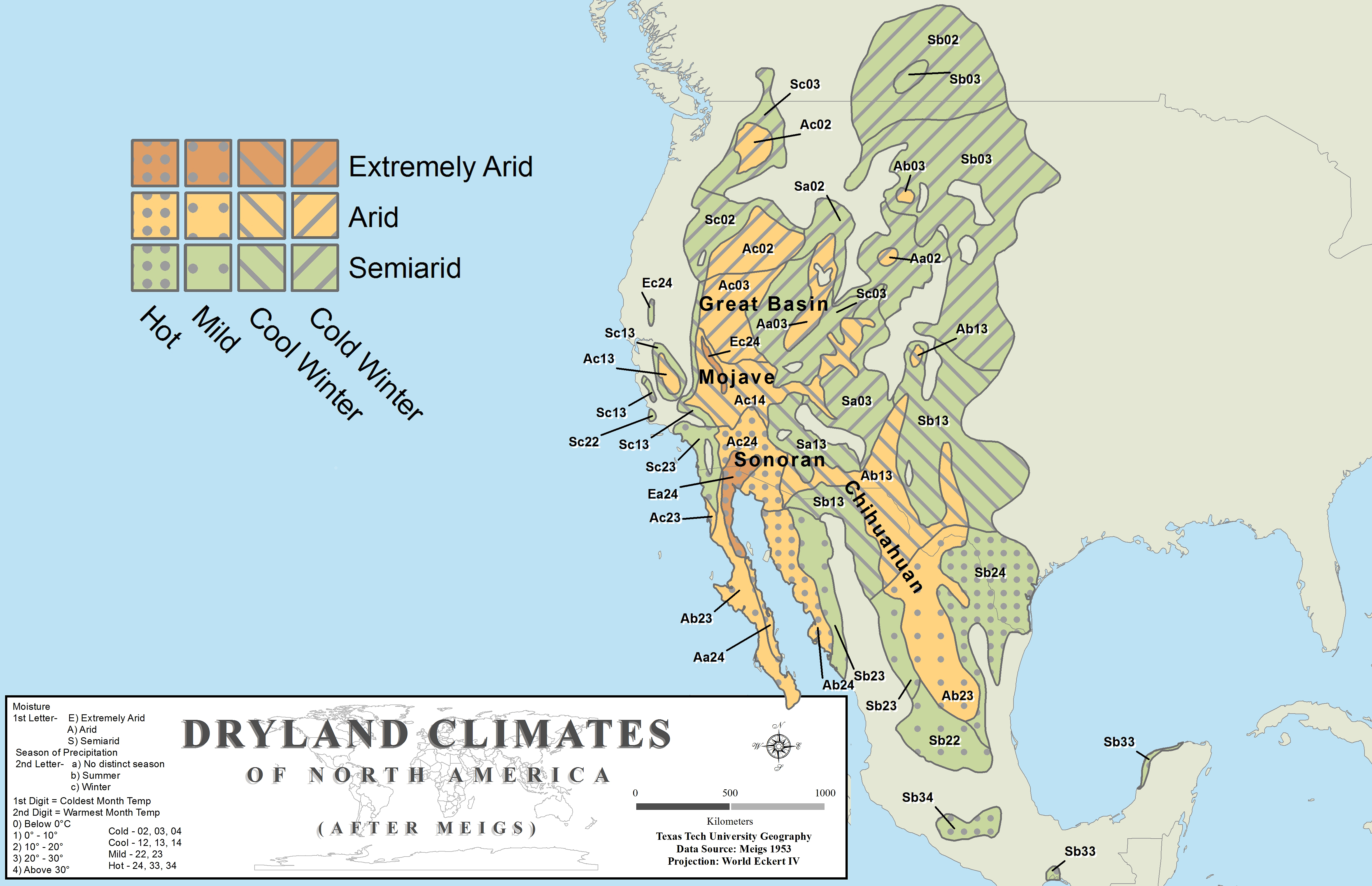 North America Dryland Climates after meigs