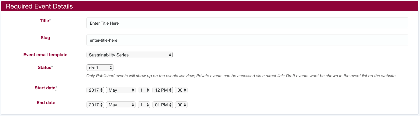 Section 1: Required Event Details screenshot