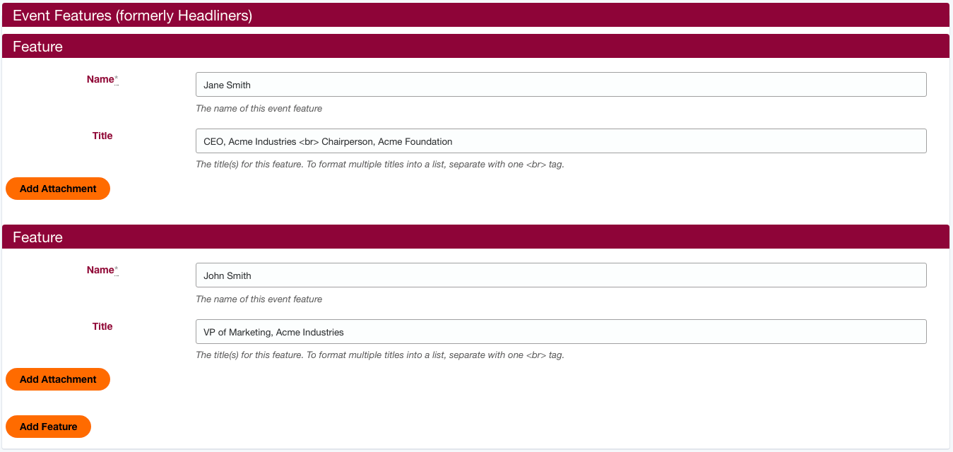 """Section 3: Event Features (Formerly known as """"Headliners"""") Screenshot"""