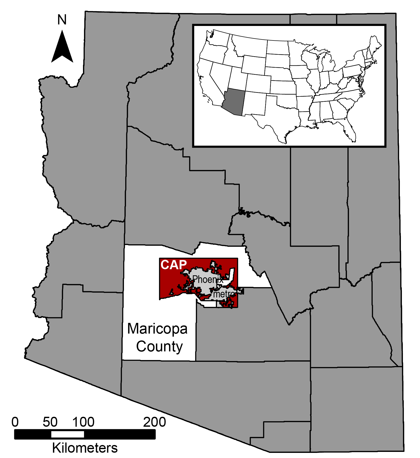 CAP area Arizona map