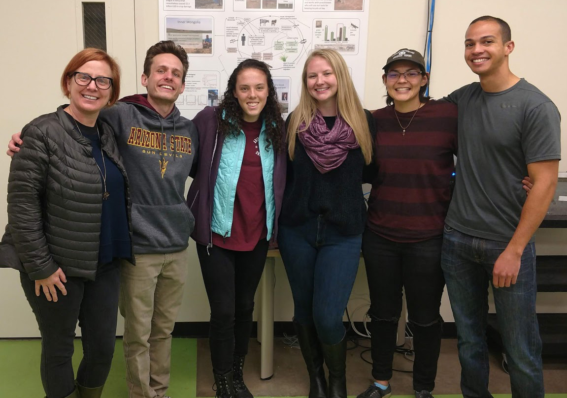 Program Director, Professor Kelli Larson, with the 2019 SURE Fellows during a tour of the Cease Locust Lab at ASU