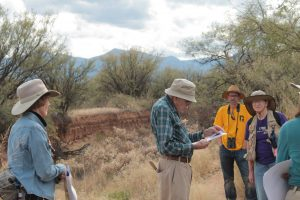 Professor Haynes explaining the arroyo near Murray Springs Clovis site