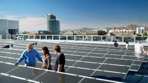 Harvey Bryan, left, sustainability professor, takes his renewable energy systems students on a field trip to the rooftop of COOR Hall at ASU's Tempe campus.