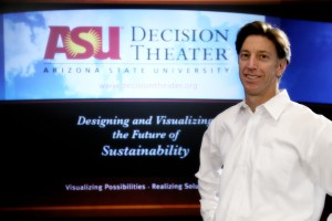 Basile at ASU's Decision Theater, where scientists can predict future climate and social changes
