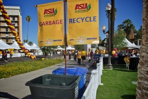 Signs at Homecoming for Garbage and recycle