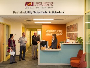 Kim is often visited by Sustainability Scientists at her desk.
