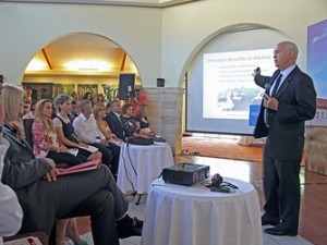Gary Dirks presents green schools study to Albanian audience