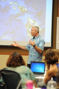 Brendan Courtot, vocational technology and applied math teacher for Kamehameha Schools, talks about limited island resources .