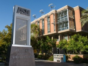 ASU sign with Wrigley Hall in the background