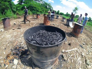 Bin of green charcoal in Haiti