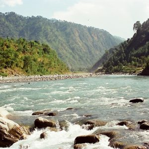 View of Ravi River with mountains in the background