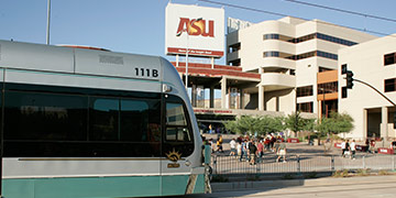 Tempe Light Rail passing by ASU