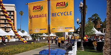Signs for Garbage and Recycling and on ASU walkway